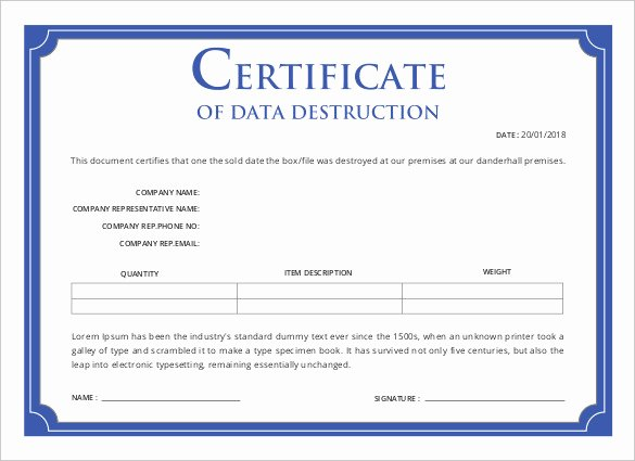 Free Certificate Of Destruction Template New Printable Certificate Template 46 Adobe Illustrator