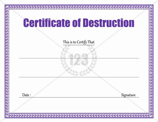 Free Certificate Of Destruction Template Unique Download Certificate Of Destruction Template