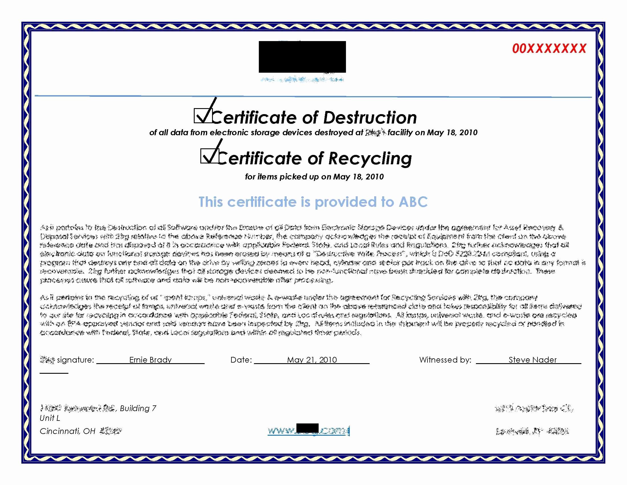 Free Certificate Of Destruction Template Unique Hard Drive Destruction for Copier Mfp Printers