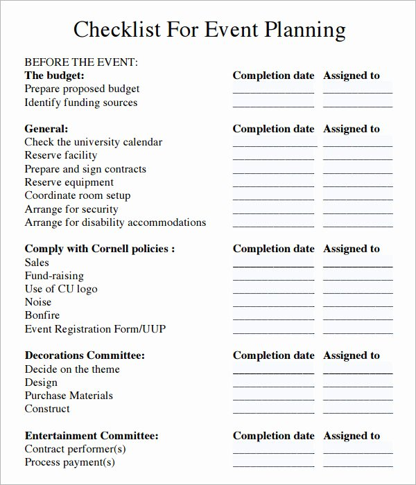 Free Church Security Plan Template Best Of 11 Sample event Planning Checklists – Pdf Word