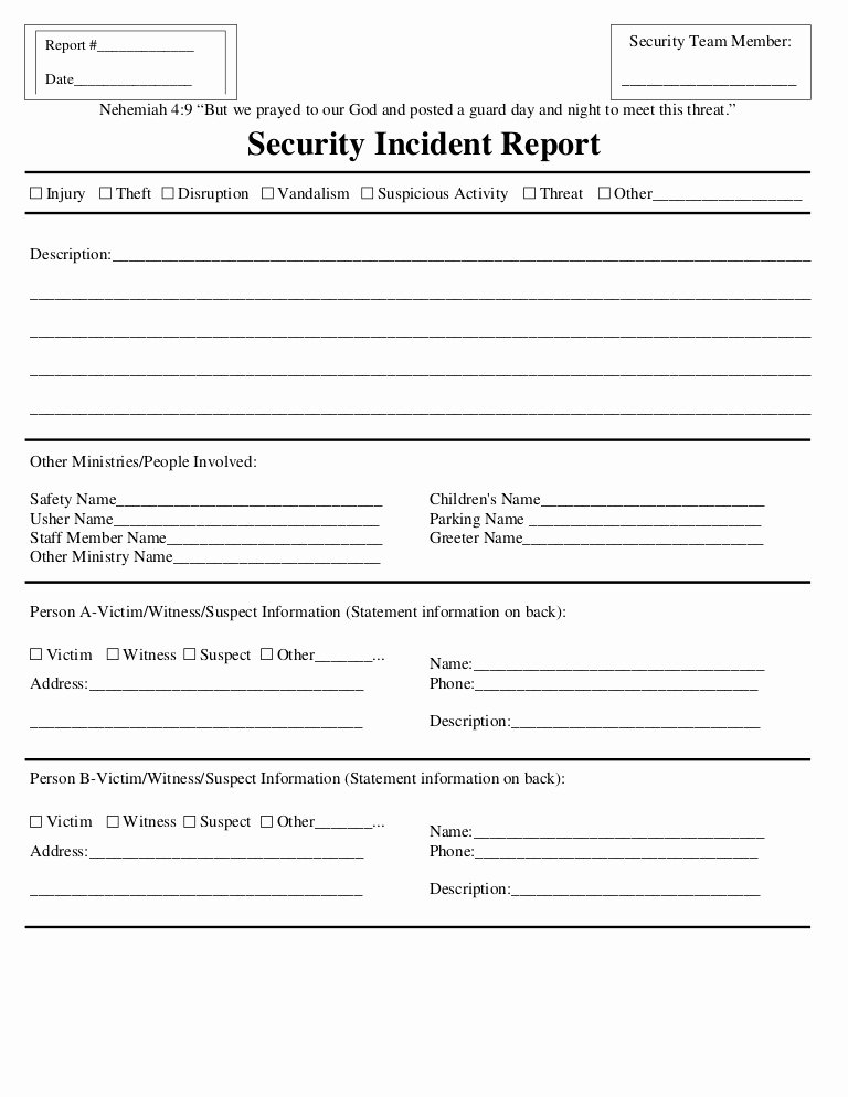 Free Church Security Plan Template Fresh Security Incident Report