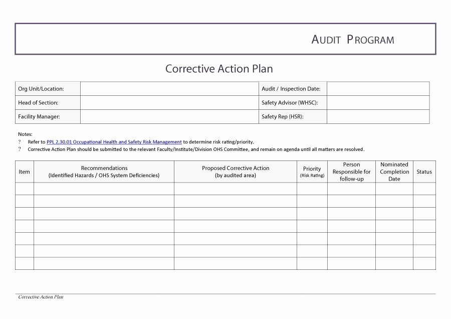 Free Corrective Action Plan Template Inspirational Corrective Action Plan Template