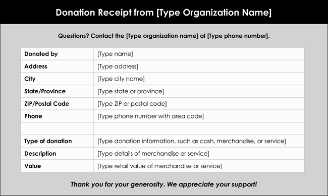 Free Donation Receipt Template Awesome Donation Receipt Template 12 Free Samples In Word and Excel
