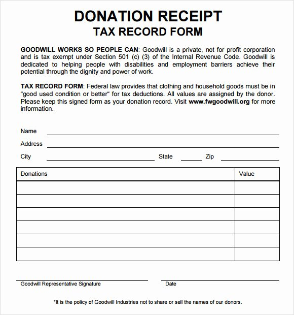 Free Donation Receipt Template New 10 Donation Receipt Templates – Free Samples Examples