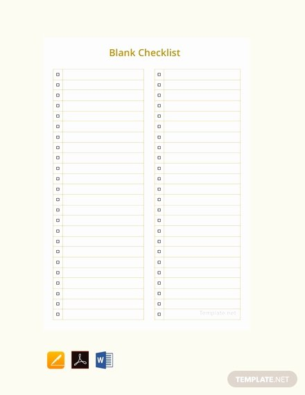 Free Editable Cheque Template Fresh Free Blank Checklist Template Download 149 Checklists In