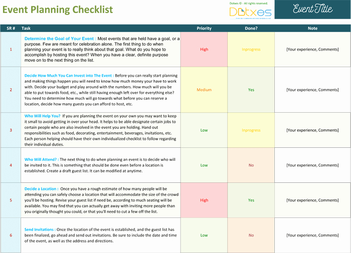 Free event Plan Template Awesome event Planning Checklist to Keep Your event Track