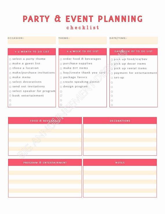 Free event Plan Template Unique Party Planning Worksheet Kidz Activities