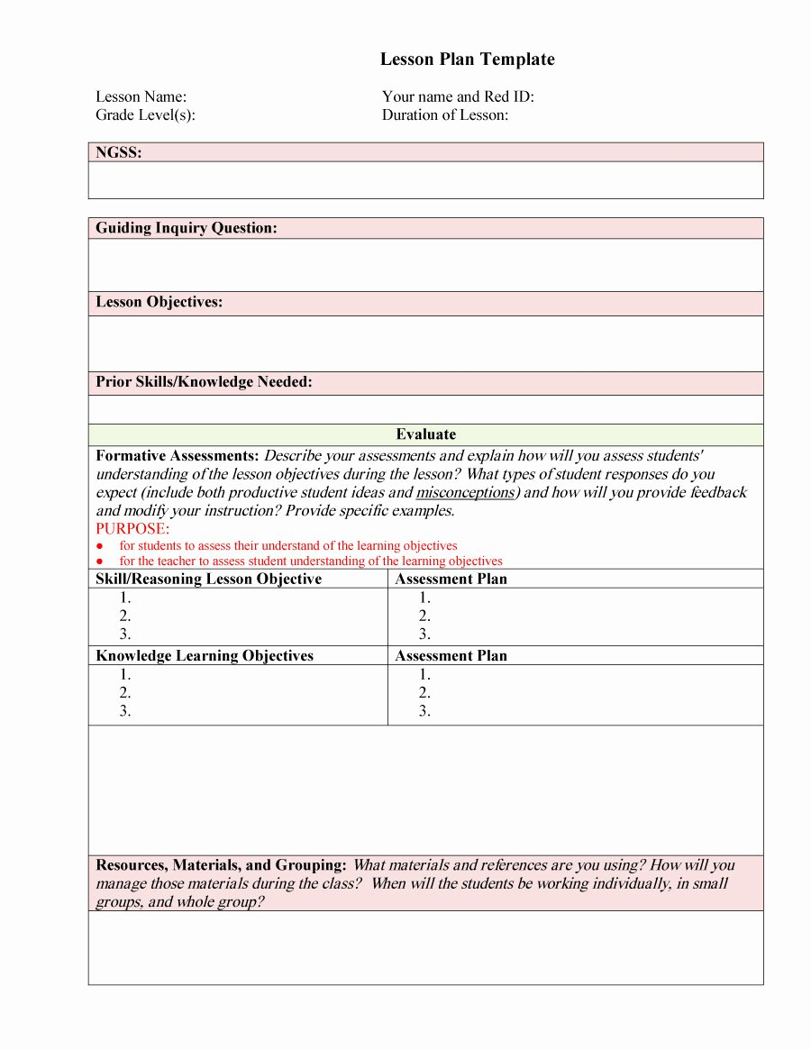 Free Lesson Plan Template Best Of 44 Free Lesson Plan Templates [ Mon Core Preschool Weekly]
