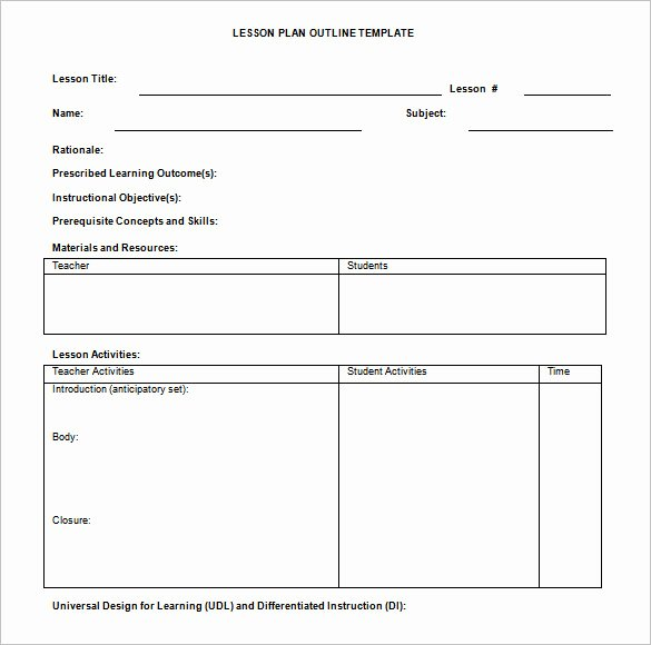 Free Lesson Plan Template Word Inspirational Lesson Plan Outline Template 8 Free Free Word Pdf
