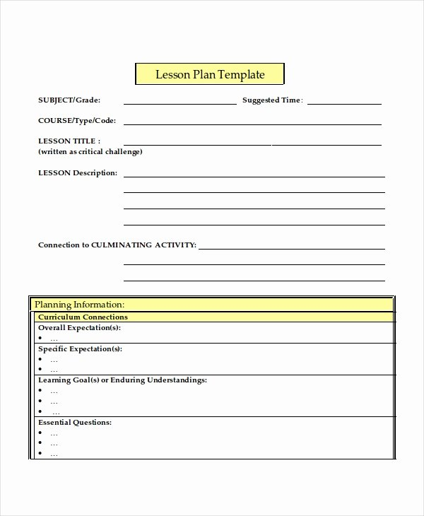 middle school lesson plan template word