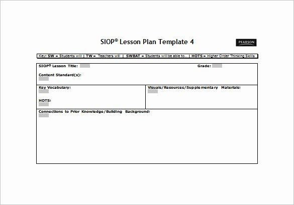 Free Lesson Plan Template Word Unique 9 Siop Lesson Plan Templates Doc Excel Pdf