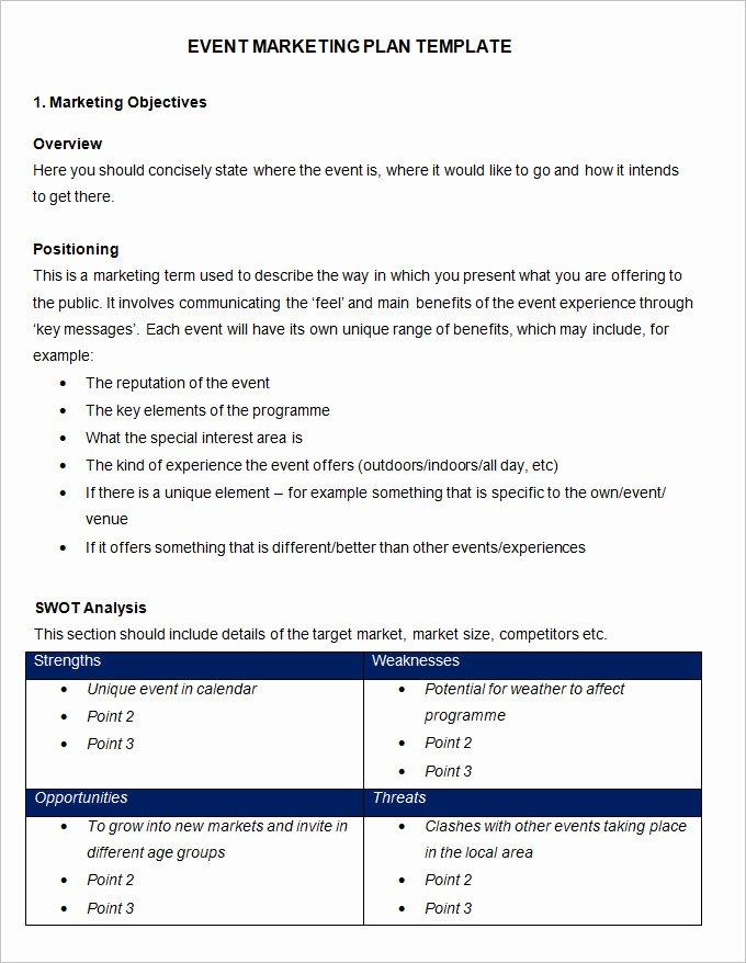 Free Marketing Plan Template Word Inspirational event Marketing Plan Template 11 Free Word Documents