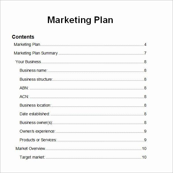 Free Marketing Plan Template Word New Sample Marketing Plan Template 9 Free Documents In Word
