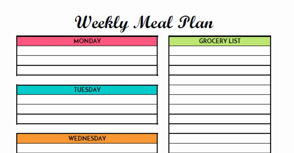 Free Meal Plan Template Elegant Free Weekly Meal Planning Printable with Grocery List