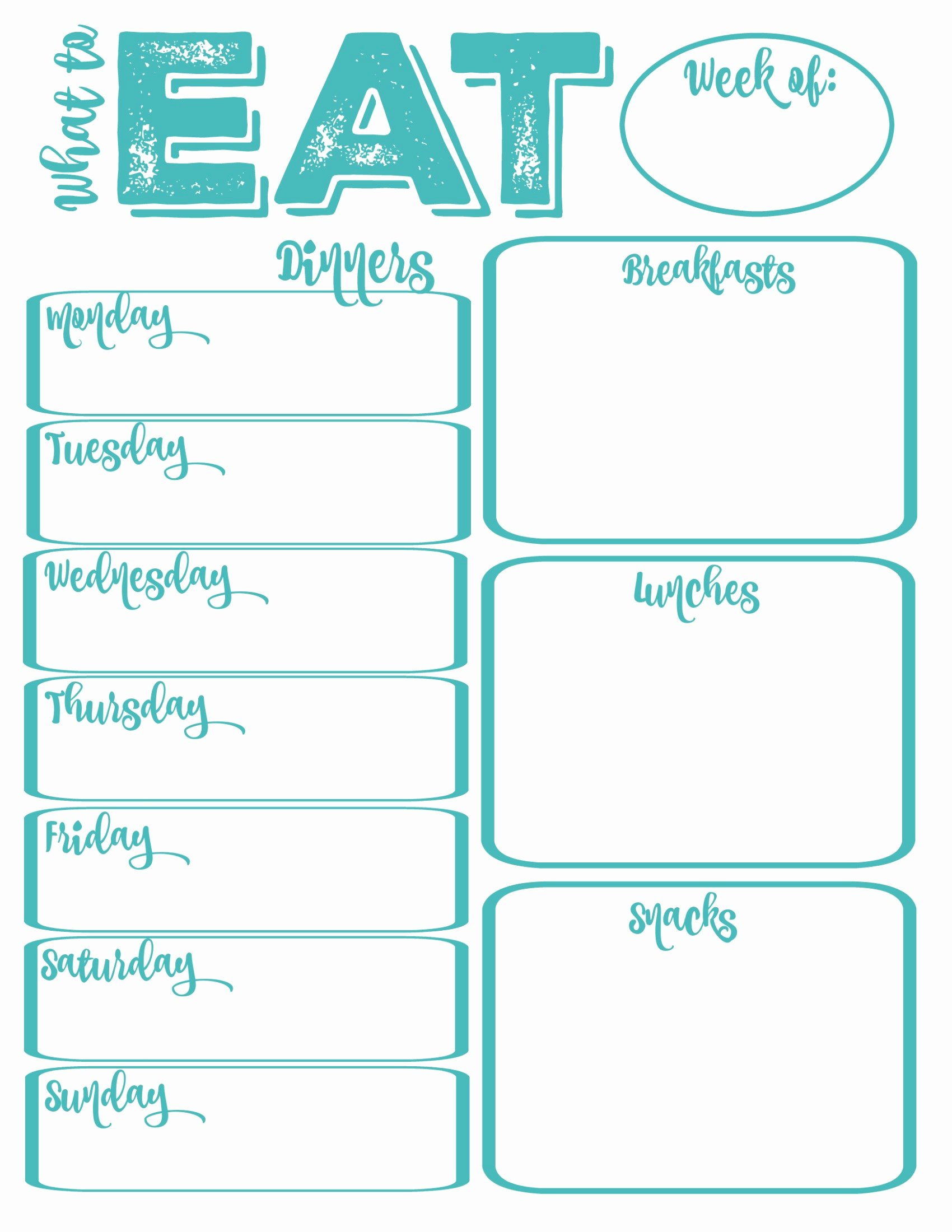 Free Meal Plan Template Elegant Pantry Makeover Free Printable Weekly Meal Planner and