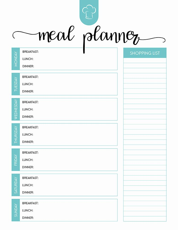 Free Meal Plan Template Fresh Free Printable Meal Planner Set the Cottage Market