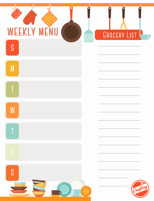 Free Meal Plan Template New Get A Free Printable Weekly Meal Planner On Craftsy