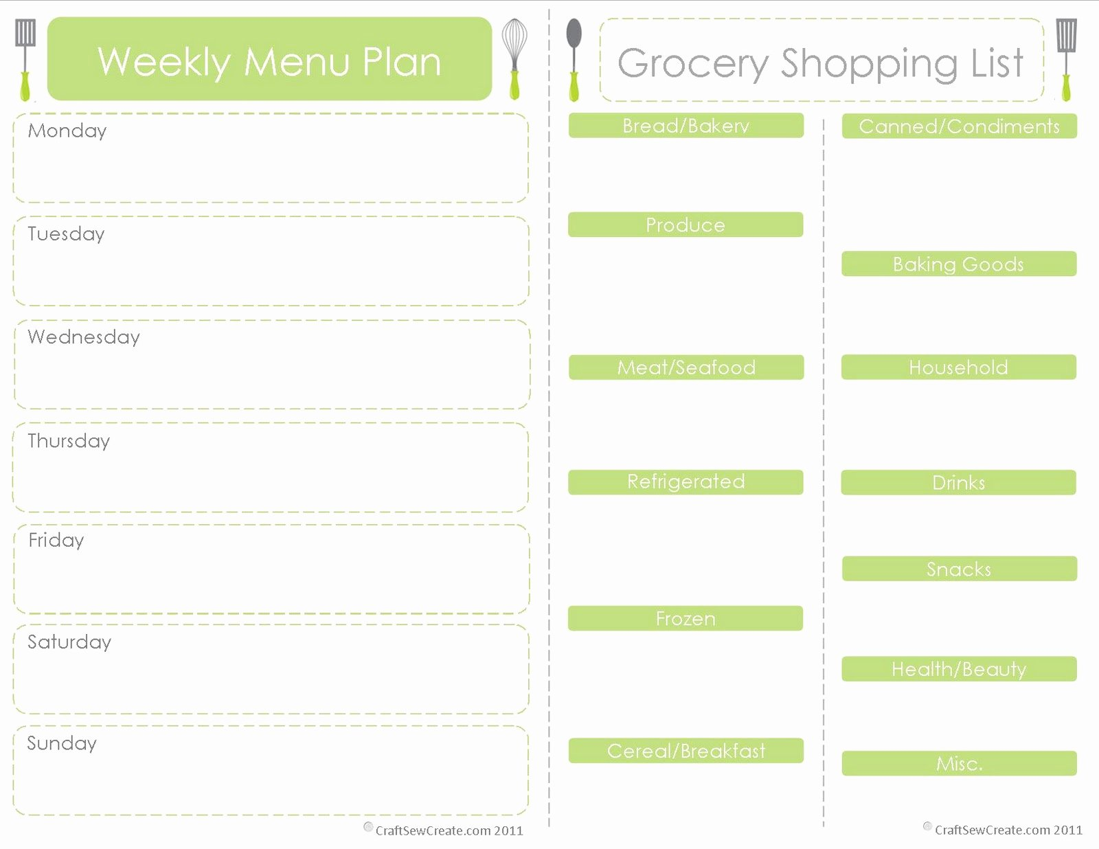Free Meal Plan Template Unique Craft Sew Create Free Printable Menu Plan Shopping List