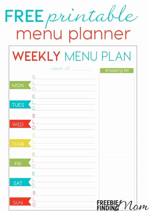 Free Menu Plan Template Fresh Free Weekly Menu Planner Printable