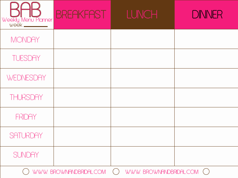Free Menu Plan Template Fresh Weekly Menu Template