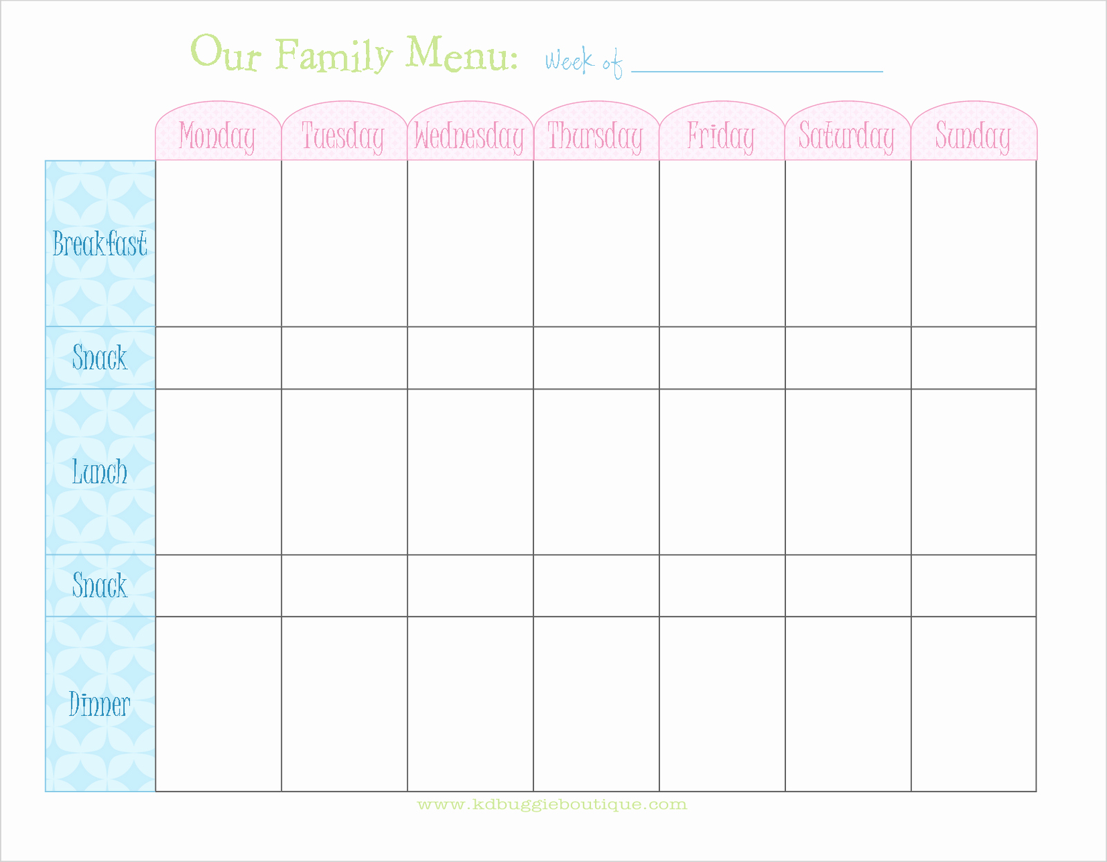 Free Menu Plan Template Lovely Freebie Weekly Menu Planner Download Naturally Creative