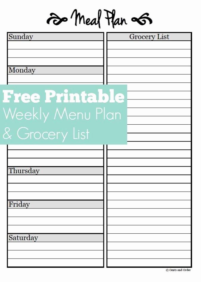 Free Menu Plan Template Lovely Meal Planning Free Weekly Meal Planner Printable