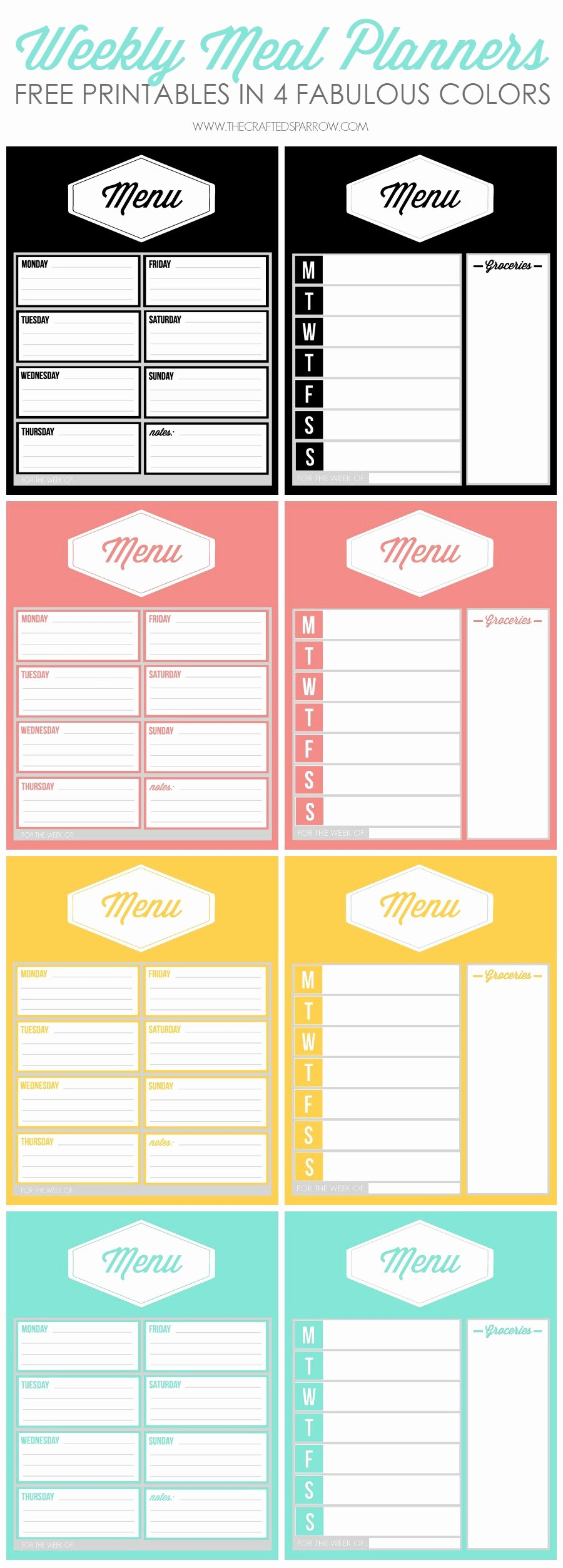 Free Menu Plan Template Unique Free Printable Weekly Meal Planners