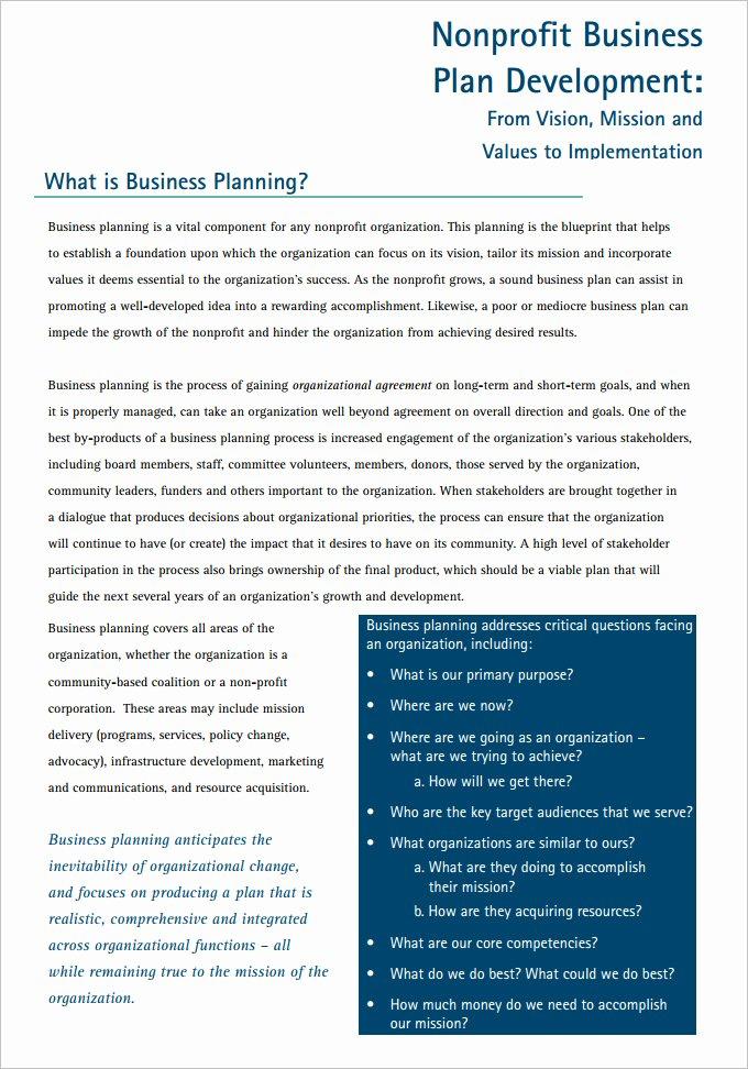 Free Nonprofit Business Plan Template Elegant 22 Non Profit Business Plan Templates Pdf Doc
