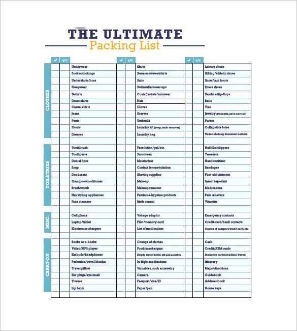 Free Packing List Template Beautiful Packing List Template 10 Free Word Excel Pdf format