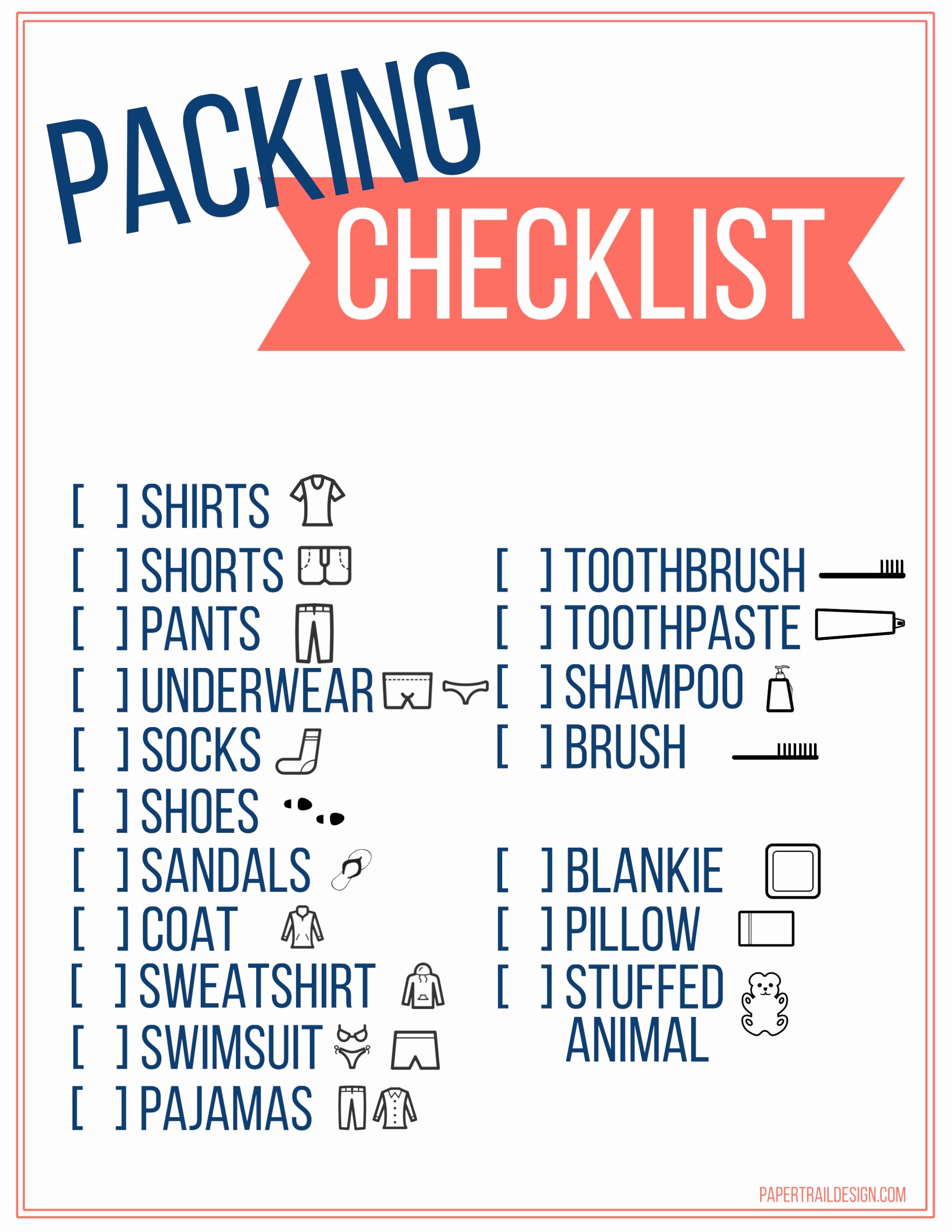 Free Packing List Template Best Of Free Printable Vacation Packing List Template for Kids