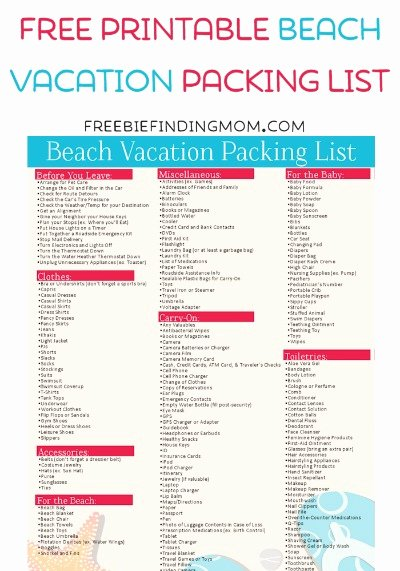 Free Packing List Template Fresh Free Printable Beach Vacation Packing List