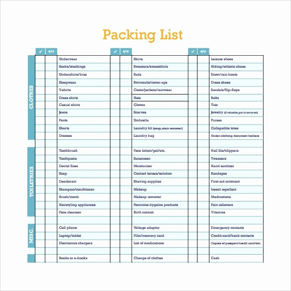 Free Packing List Template Fresh Packing List Templates 6 Free Documents Download In Pdf