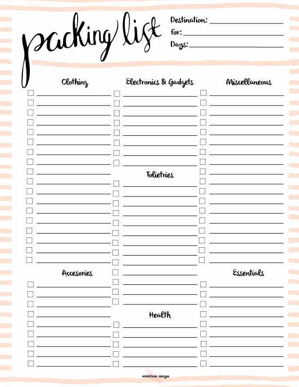 Free Packing List Template Luxury Free Printable Packing List
