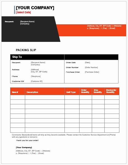 Free Packing Slip Template Fresh Packing List Templates for Ms Word