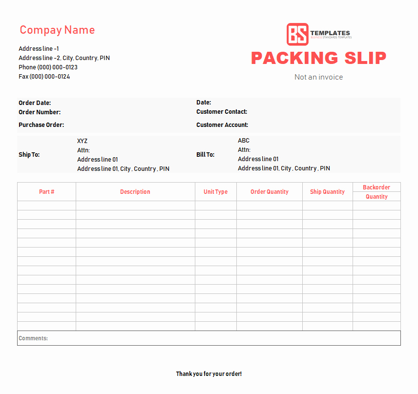 Free Packing Slip Template Luxury Packing Slip Template Free In Excel Sheet & Word format