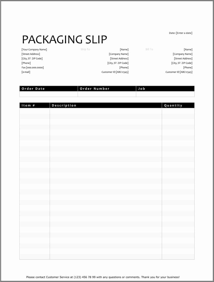 Free Packing Slip Template New 25 Free Shipping & Packing Slip Templates for Word & Excel