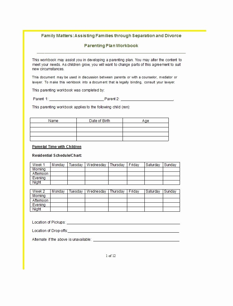 Free Parenting Plan Template Download Awesome 49 Free Parenting Plan & Custody Agreement Templates