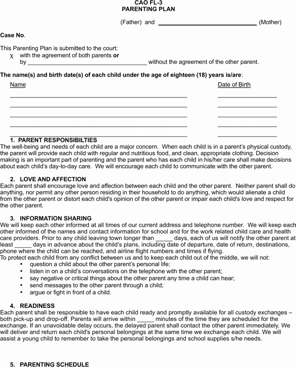 Free Parenting Plan Template Download Inspirational Download Idaho Parenting Plan form for Free