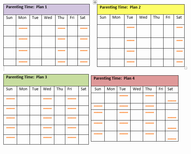 Free Parenting Plan Template Fresh Visitation Schedule Template