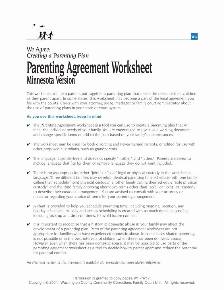 Free Parenting Plan Template Luxury Parenting Plan Worksheet Kidz Activities