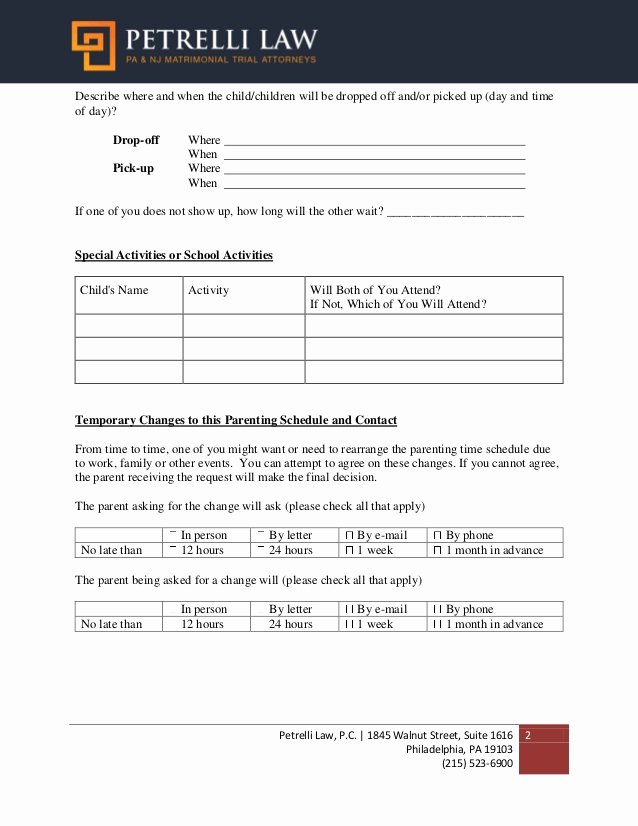 Free Parenting Plan Template New Nice Parenting Plan Template Free Parenting Plan