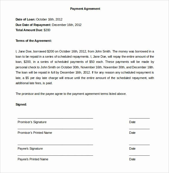 Free Payment Plan Template Beautiful Payment Agreement Template Template