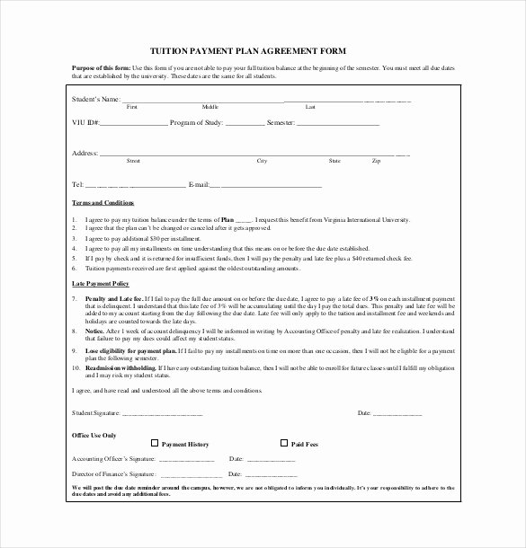 Free Payment Plan Template Fresh Payment Agreement Template