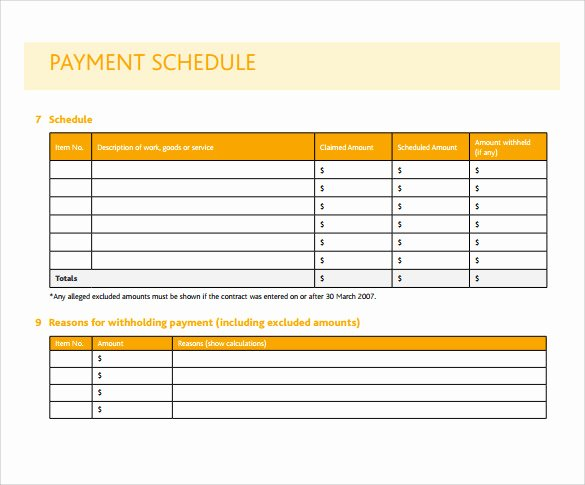 Free Payment Plan Template Unique 16 Payment Schedule Samples