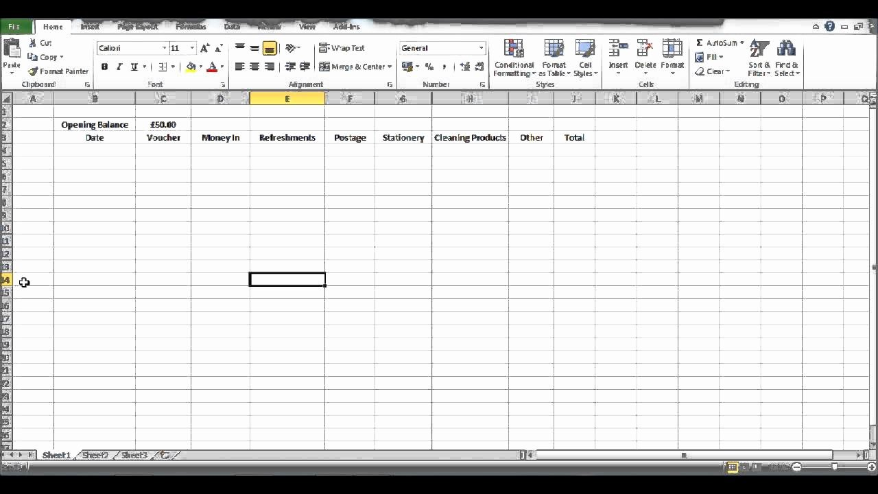 Free Petty Cash Template Elegant How to Create A Petty Cash Template Using Excel Part 2