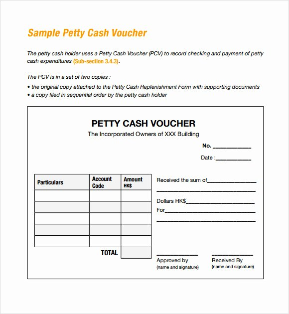 Free Petty Cash Template New Sample Petty Cash Voucher Template 9 Free Documents In