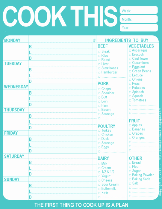 Free Printable Meal Plan Template Awesome 20 Free Menu Planner Printables