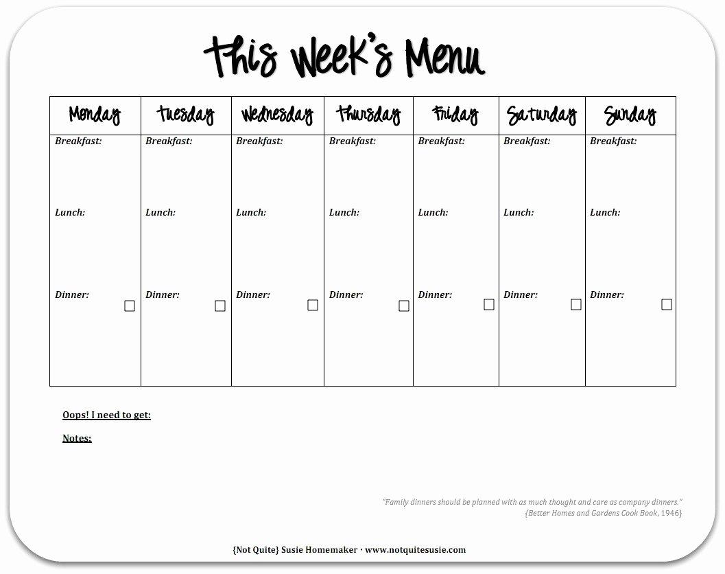 Free Printable Meal Plan Template Best Of Free Printable Weekly Meal Planner Not Quite Susie