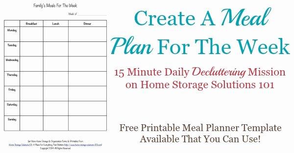 Free Printable Meal Plan Template Fresh Printable Weekly Meal Planner Template