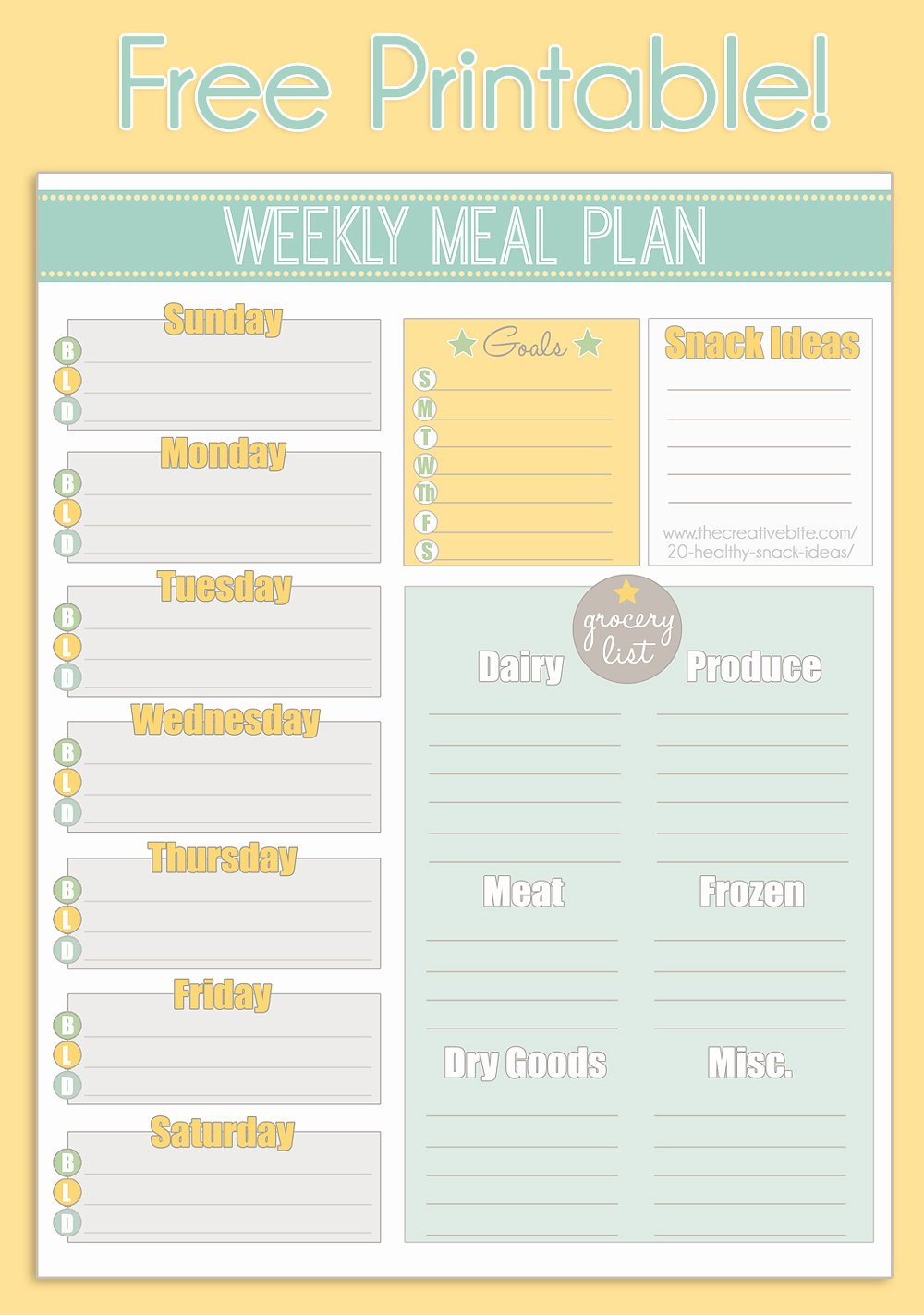 Free Printable Meal Plan Template Inspirational Free Printable Weekly Meal Planner Calendar